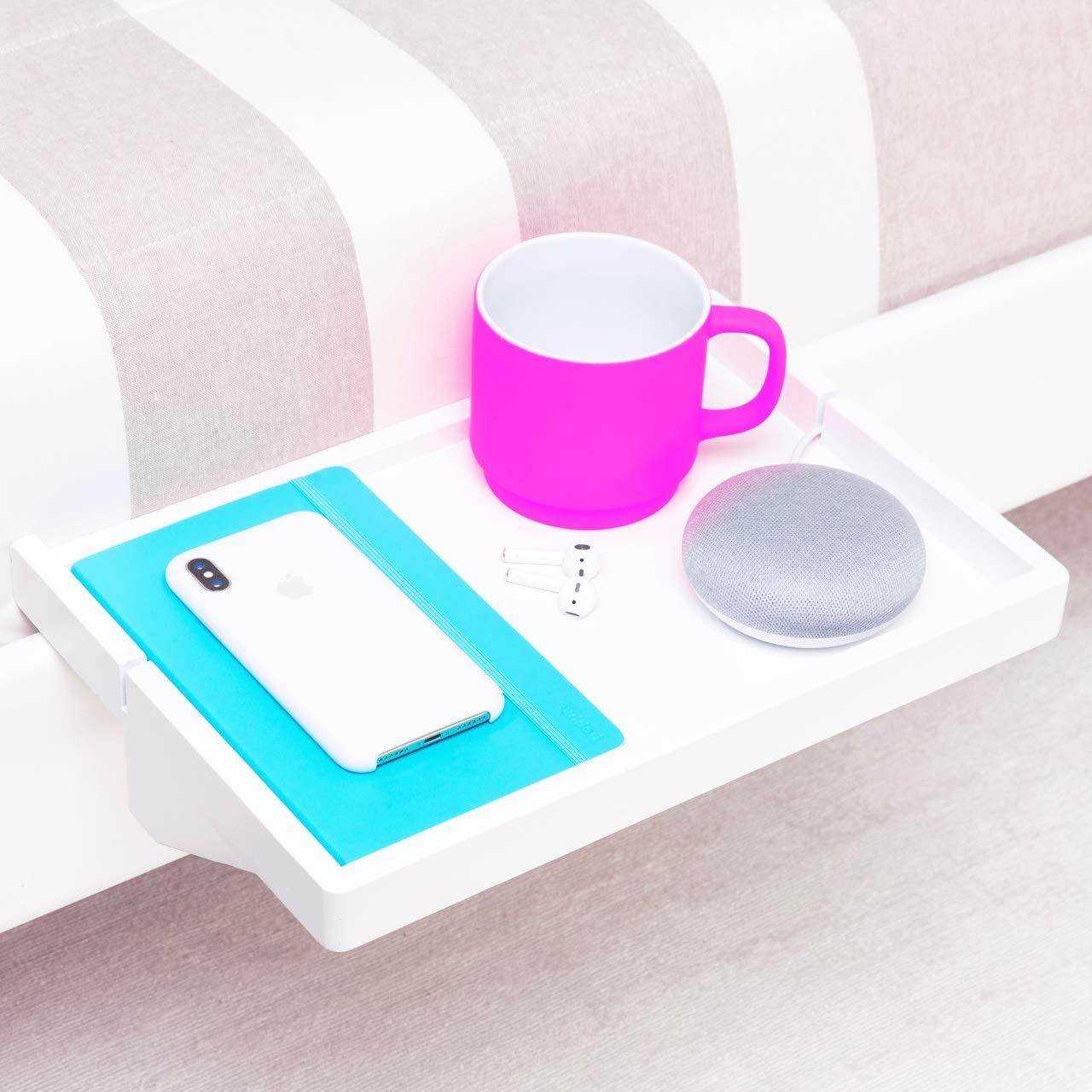 BedShelfie - 3 Colors | Premium Modern Bamboo Bedside Shelf | Space-Saving, Adjustable Floating Nightstand for Small Bedrooms, Loft Bunk Beds, Dorms | Minimalist Tray Table Organizer (in White) BedShelfie3