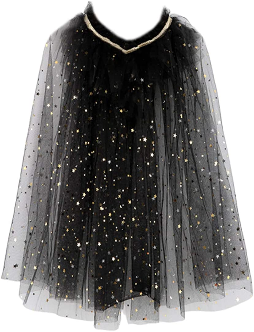 Radish Stars Princess Colorful Sequins Capes Cloak for Girls-Halloween Birthday Party Costumes Dress up