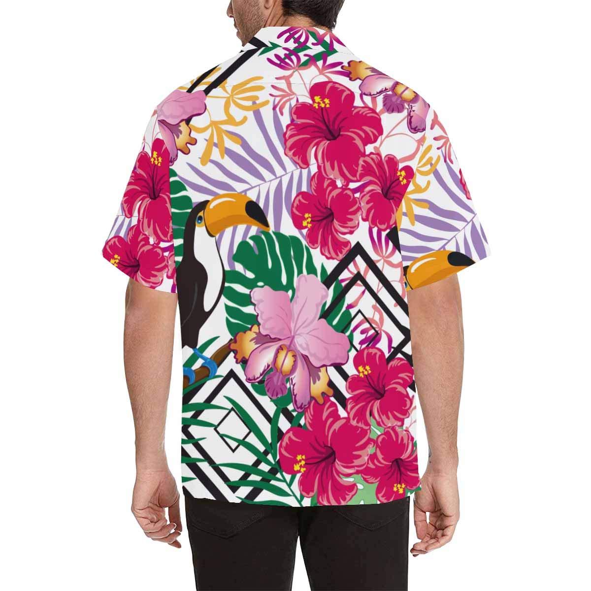 InterestPrint Mens Tropical Flowers Jungle Leaves Bird Tees Tops T-Shirts