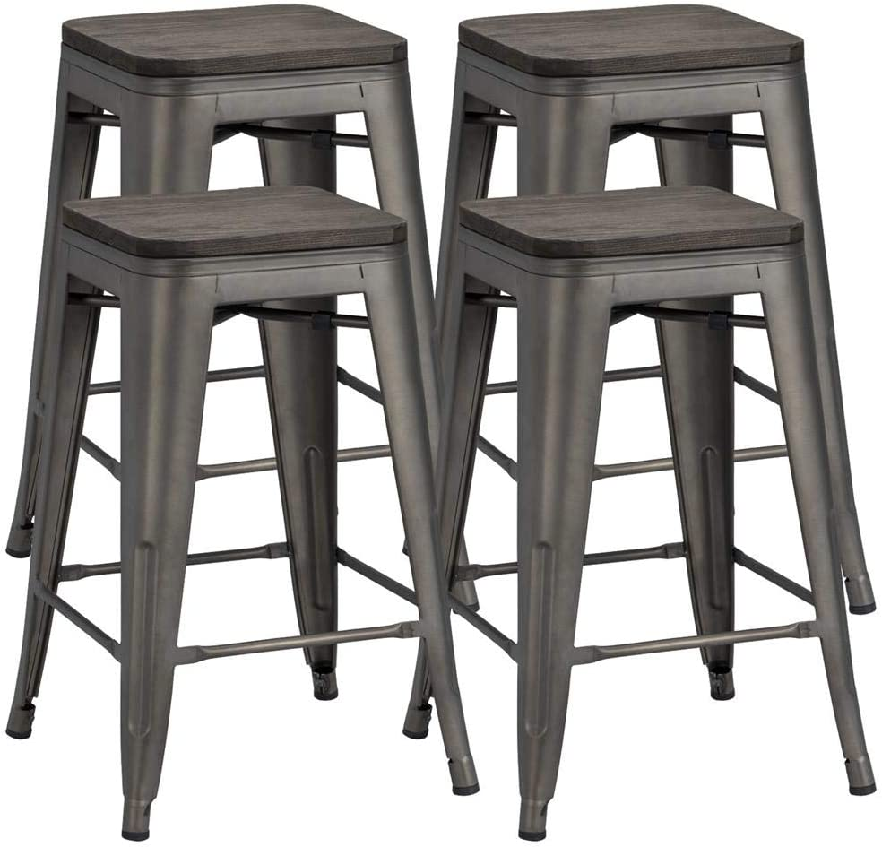 Yaheetech 24inch Metal Bar Stools Counter Height Barstools High Backless Industrial Stackable Metal Chairs with Wood Seat Top Indoor Outdoor Set of 4, Gun Metal