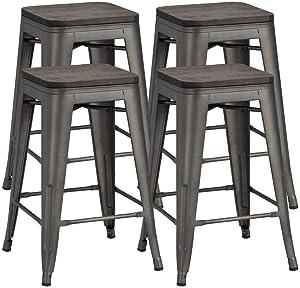 Yaheetech 24 inches Metal Bar Stools Counter Stool Indoor/Outdoor Stackable Barstools Counter Wood Top/Seat Bar Stools Set of 4, Gunmetal