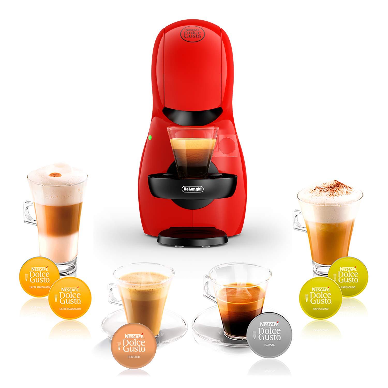 DeLonghi Dolce Gusto Piccolo XS EDG210.R - Cafetera de cápsulas, 15 bares de presión, diseño compacto, color rojo