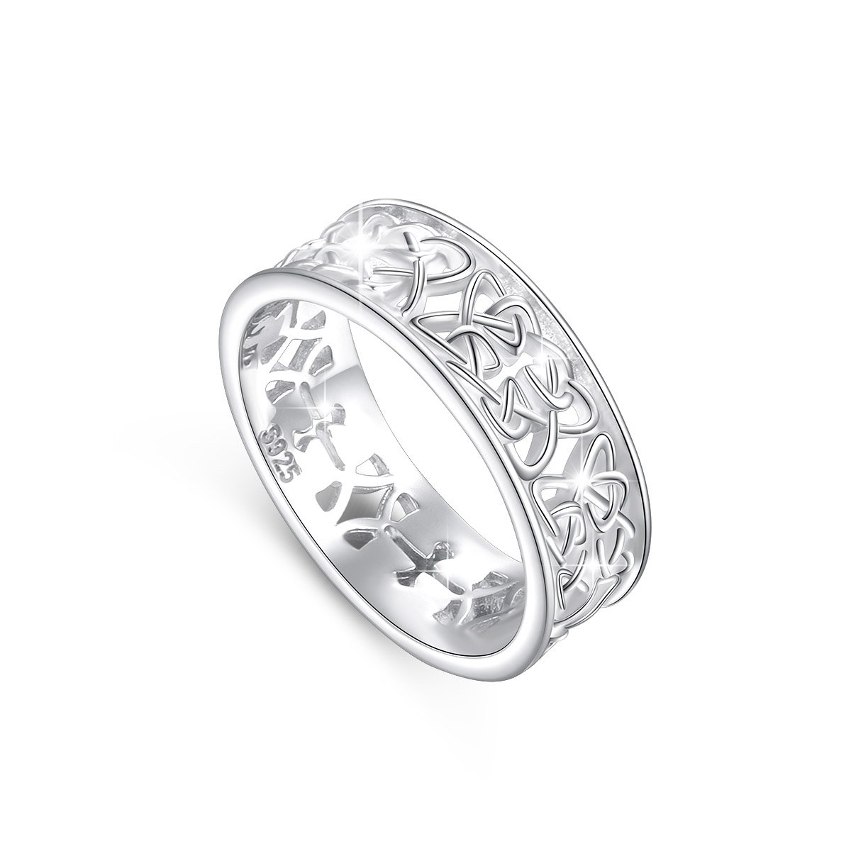 DAOCHONG Nickel-Free 925 Sterling Silver Irish Love Trinity Woven Celtic Knot Band Ring for Women, Size 6 7 8 (9)
