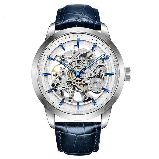 Pagani diseño automático Reloj de Hombre con Mecanismo de Esqueleto Transparente-Impermeable Hombres Reloj: Amazon.es: Relojes