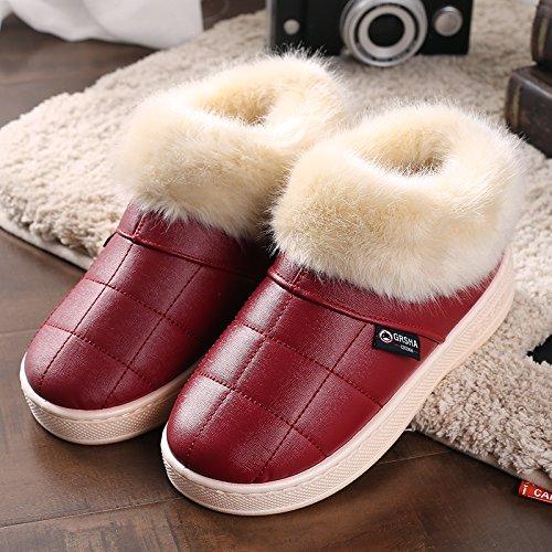 Y-Hui invierno zapatillas de algodón con bolsa de cuero zapatillas zapatillas al final del invierno, el viejo hombre grueso Zapatos impermeables Oxblood red