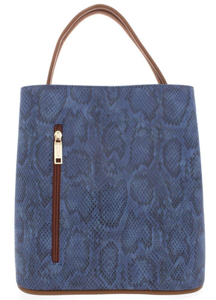 'Carla' Designer Inspired Denim Snakeskin Handbag by Samoe Style