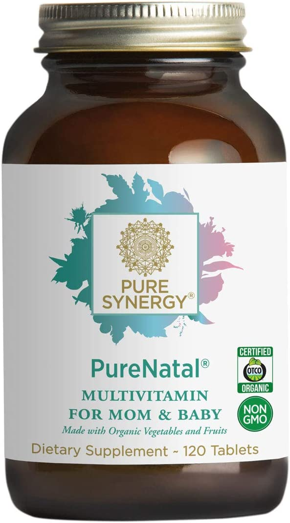 Pure Synergy PureNatal 120 Tablets Prenatal Vitamin Made w Organic Fruits Veggies, Gentle on Stomach