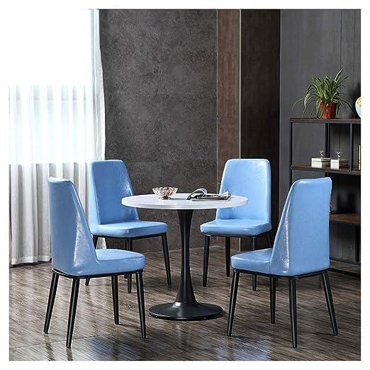 Juego de mesa de comedor y sillas de 4 sillas de piel de 80 cm, mesa