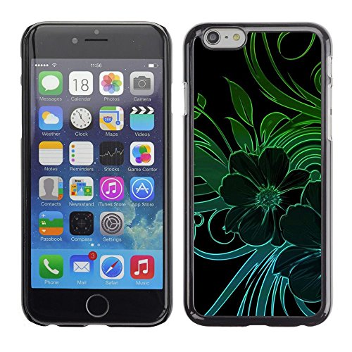 Caoutchouc Hard Case Shell Housse de protection Accessoire BY RAYDREAMMM - Apple iPhone 6 - Green Teal Black Floral Flowers Petal