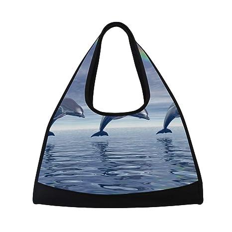 199b6754a4 Amazon.com   HUVATT Duffel Bags Dolphin Rainbow Womens Gym Yoga Bag ...