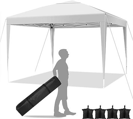 Hikole Carpa Plegable 3x3 Cenadores para Jardin Pergolas Plegables Impermeables con 4 Bolsa de Arena, Gazebo Plegable de Jardín Patio Acampar