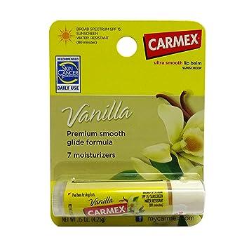 Carmex Vanilla SPF 15 Moisturizing Smooth Lip Balm - Pack of 12 0.15 Oz Each Raw Elements - Lip Balm Rescue Broad Spectrum 30 SPF - 0.15 oz. (pack of 6)