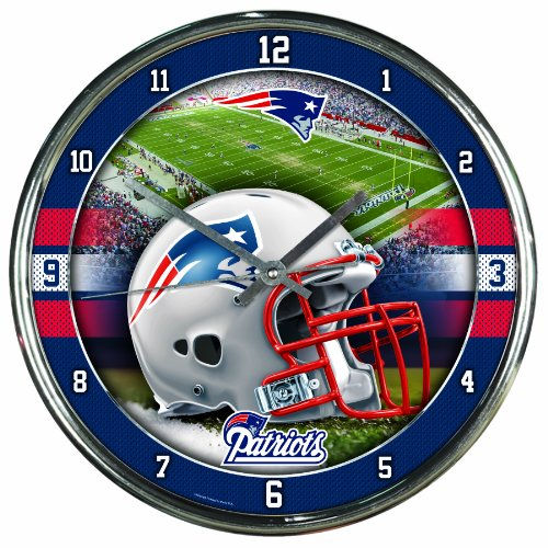 Nfl Chrome Clock - Nfl Football Team Chrome Wall Clock , New England Patriots , 12-Inch