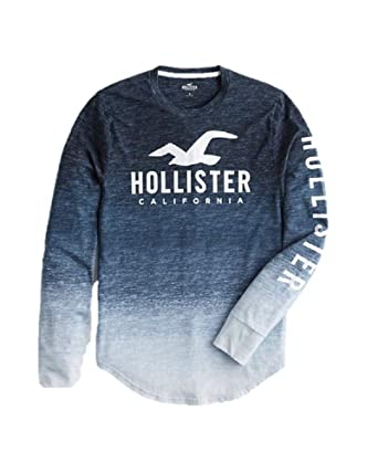 0cd921565 Hollister New Crew Neck ICON Print Logo Graphic Tee Blue Textured T-Shirt  TEE top Boys Shirt Men SZ: X-Small XS: Amazon.co.uk: Clothing