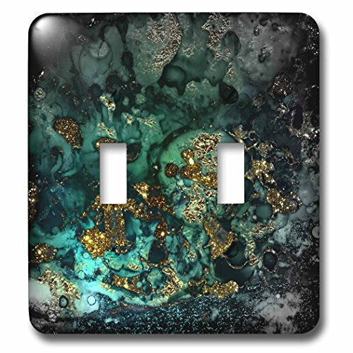 3dRose lsp_275048_2 Art print of Dark Green Indigo Gold Marble Agate Malachite Quartz Toggle Switch