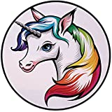 Printing Round Rug,Rainbow,Cute White Unicorn with Rainbow Colors on its Mane Blue Eyes Animal Fun Print Mat Non-Slip Soft Entrance Mat Door Floor Rug Area Rug For Chair Living Room,White Multicolor