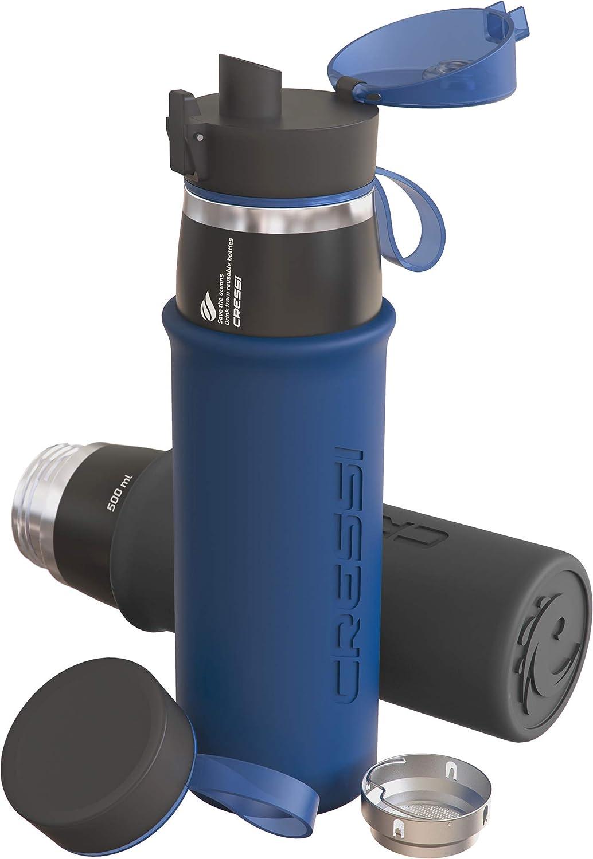 Cressi Water Bottle Tisk Botella t/érmica de Acero Inoxidable con protecci/ón de Silicona Suave