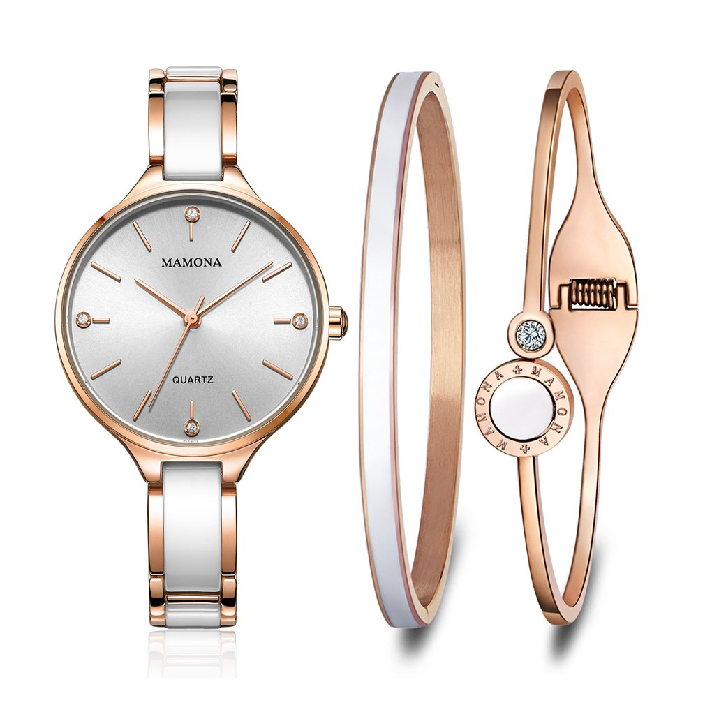 CDM product MAMONA Women's Watch and Bracelet Gift Set Ceramic and Stainless Steel Band L3877GT big image
