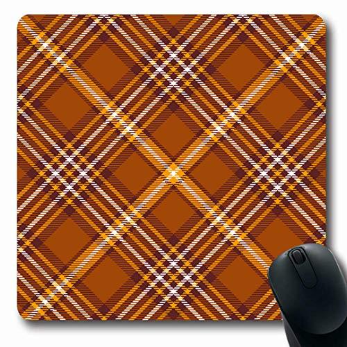 Ahawoso Mousepads Chequer Brown Border Tartan Plaid Pattern Checkered Flannel Orange Check Diagonal Design Oblong Shape 7.9 x 9.5 Inches Non-Slip Gaming Mouse Pad Rubber Oblong Mat - Orange Border Check