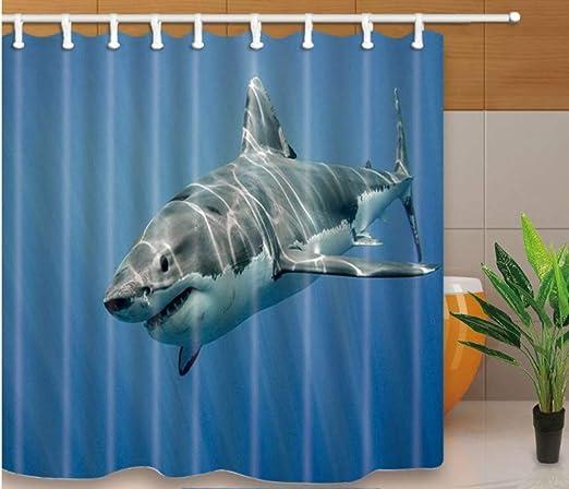 Yiciyici Dolphin Impreso Eco-Friend Baño Cortina Poliéster Lavado Decoración De Baño Cortinas De Ducha Mampara De Baño con Ganchos 180(H) X210(W): Amazon.es: Hogar