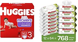 Bundle- Huggies Little Movers Baby Diapers, Size 3, 162 Ct, One Month Supply & Huggies Natural Care Sensitive Baby Wipes, Unscented, 12 Flip-Top Packs (768 Wipes Total)