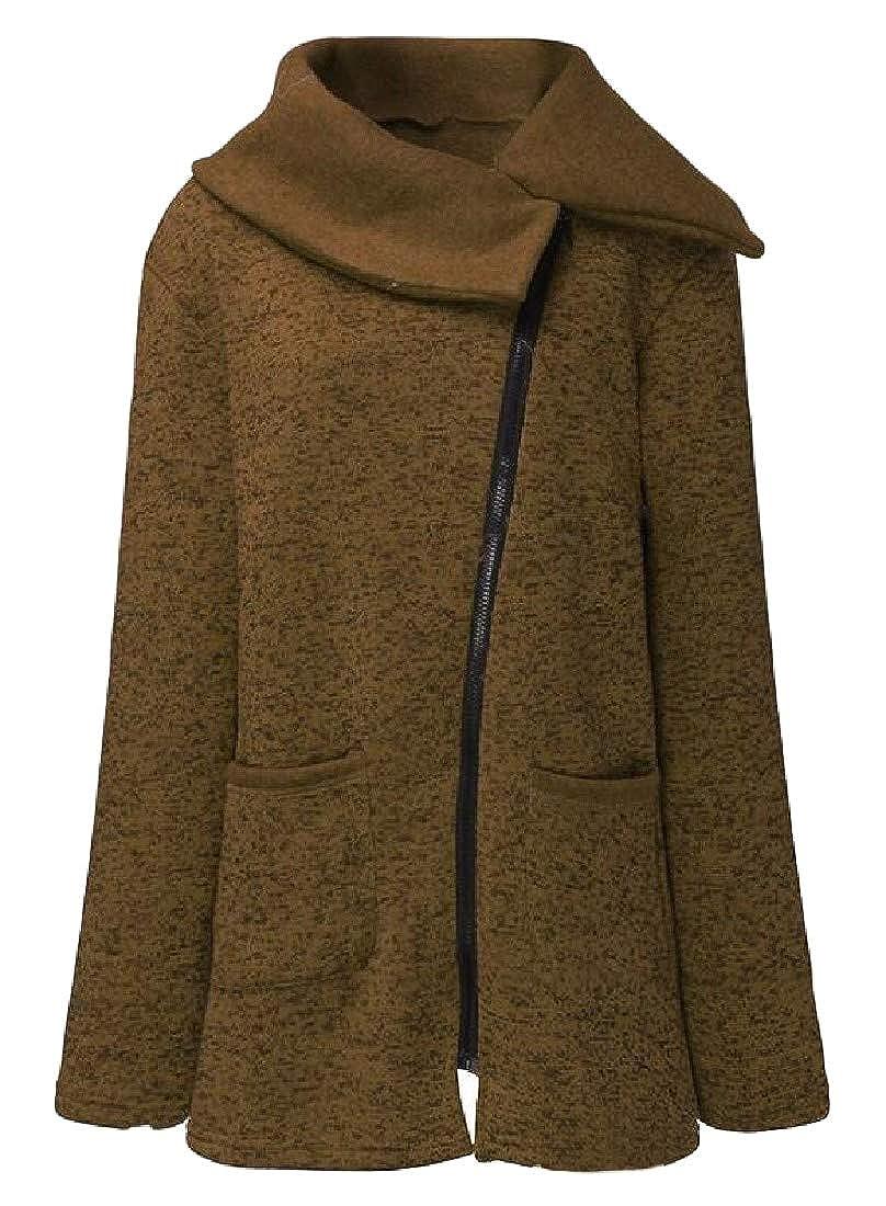 Cromoncent Womens Winter Lapel Oblique Zip Jacket Plus Size Fleece Sweatshirts