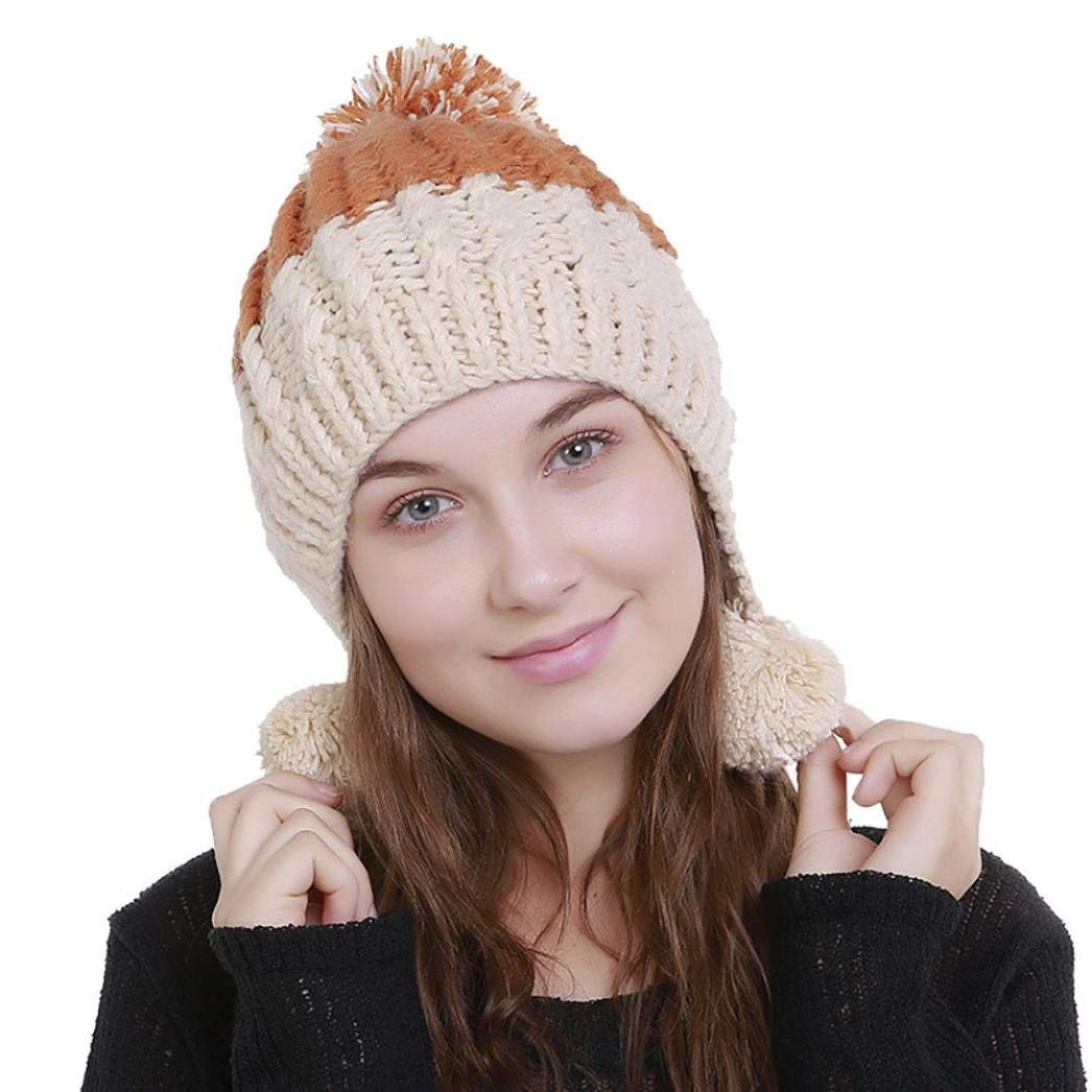 7481ecb10ab Hunputa Women s Hat Winter Pom Pom Knit Faux Wool Ski Beanie Skull Slouchy  Cap Hat One Size Beige  Amazon.in  Clothing   Accessories