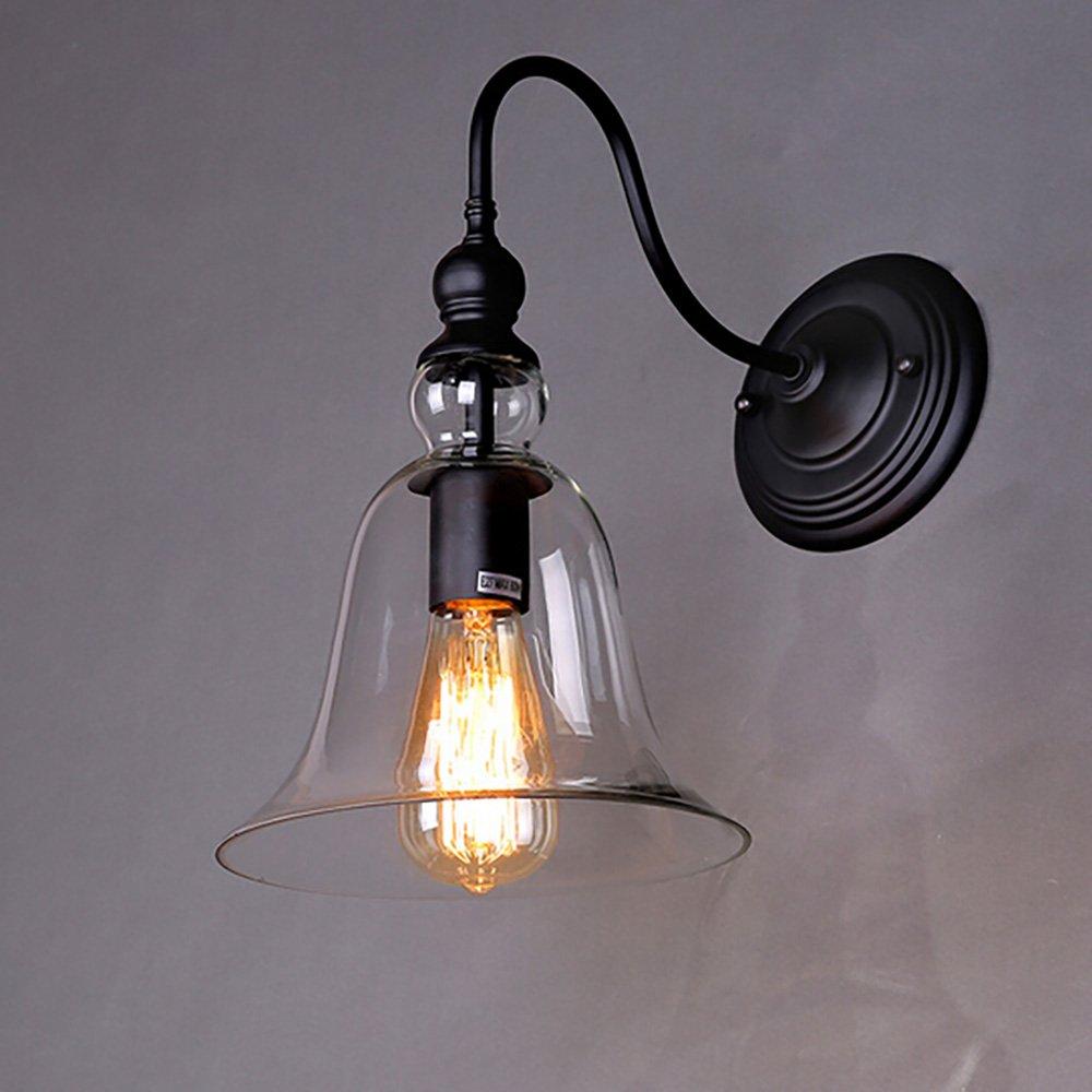 Glighone Apliques de Pared 40W Lámpara Vintage Estilo Retro Iluminación Rústico Casquillo E27 No Incluye Bombilla Luz de Metal para Decoración Casa, La Carcasa de Fuera o Tulipa Transparente [Clase de eficiencia energética A+]