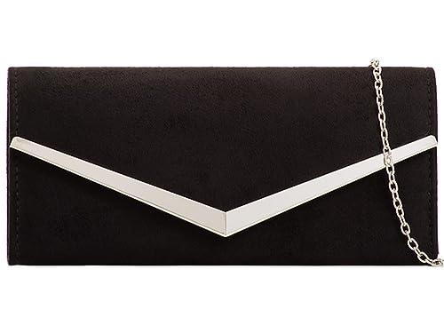 cb9c293a6296f ZES Plain Suede Bridal Wedding Ladies Party Prom Evening Clutch Hand Bag  Purse (Black): Amazon.co.uk: Shoes & Bags