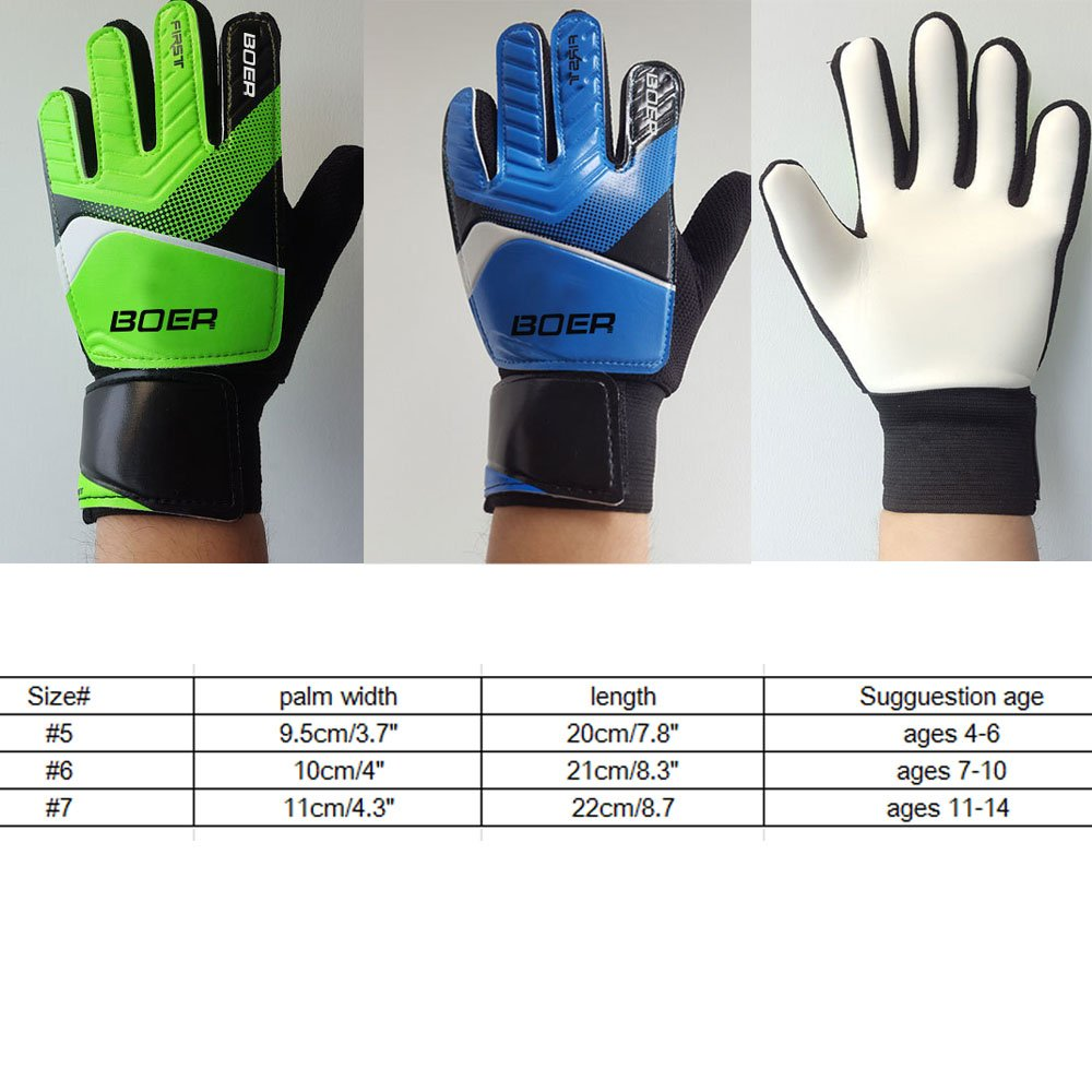 Green 6# Children Kids Youth Football Soccer Goalkeeper Goalie Training Gloves Gear