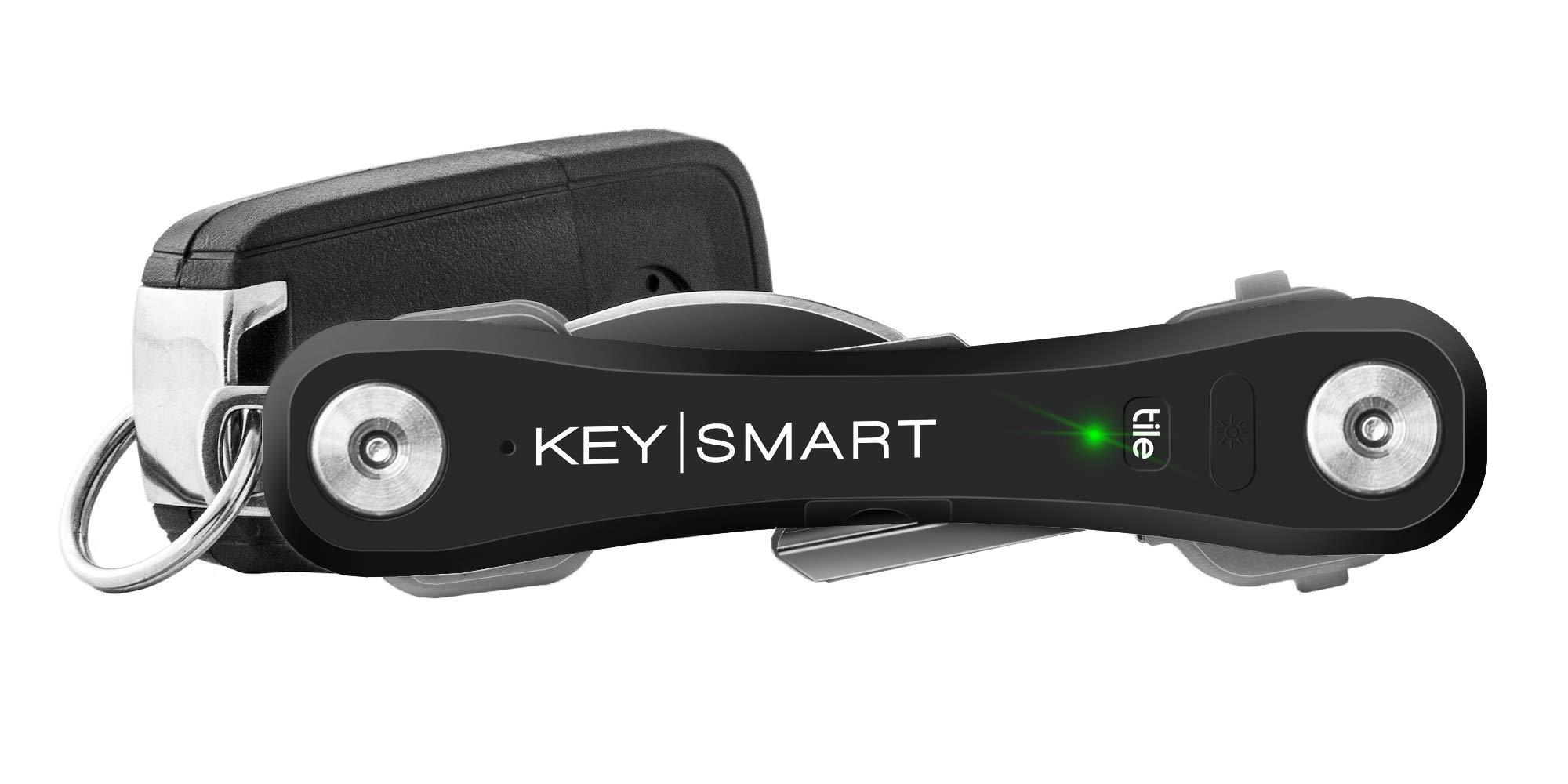 KeySmart Pro - Compact Key Holder w LED Light & Tile Smart Technology, Track your Lost Keys & Phone w Bluetooth (up to 10 Keys, Black)