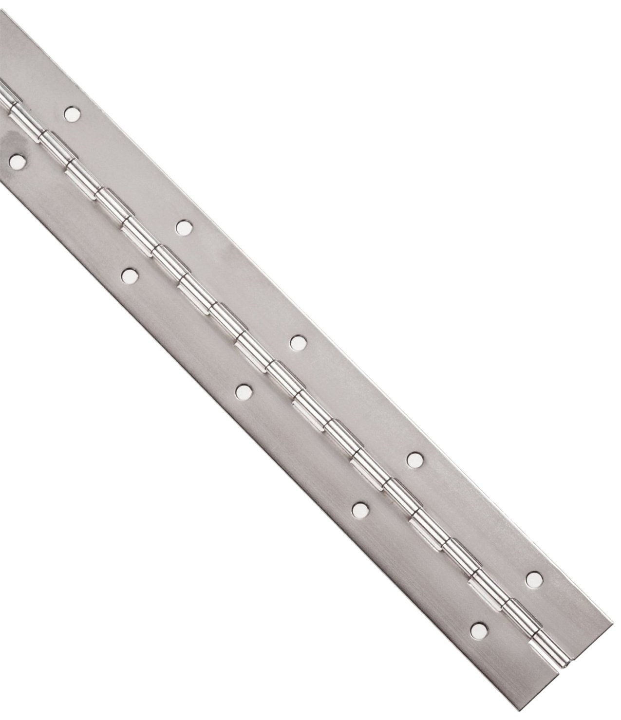 Stainless Steel 304 Continuous Hinge with Holes, Polished Finish, 0.06'' Leaf Thickness, 2'' Open Width, 1/8'' Pin Diameter, 1/2'' Knuckle Length, 3' Long (Pack of 1)