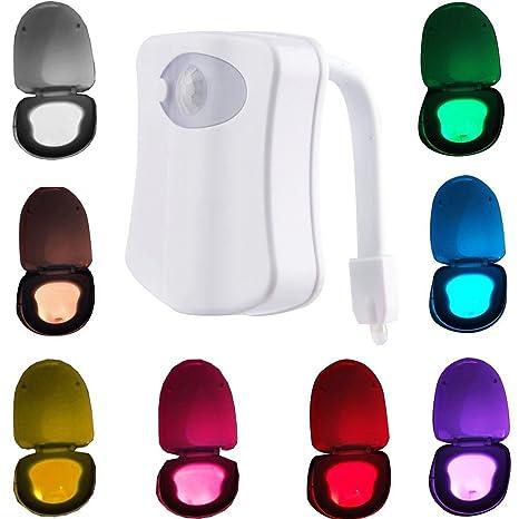 W-top Luz LED de Wc con Sensor de Movimiento automático iluminación nocturna con 8