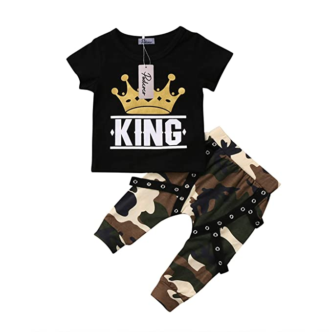 efb1ecf8 Amazon.com: Fashion New Toddler Kids Baby Boys Clothing Short Sleeve Tops  Crown T-Shirt Camo Pants Outfits Set Summer: Clothing