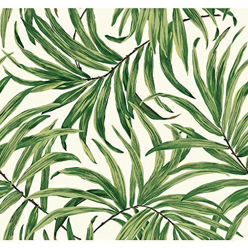 York Wallcoverings AT7050 Tropics Bali Leaves Wallpaper, White/Green - Ultra Removable