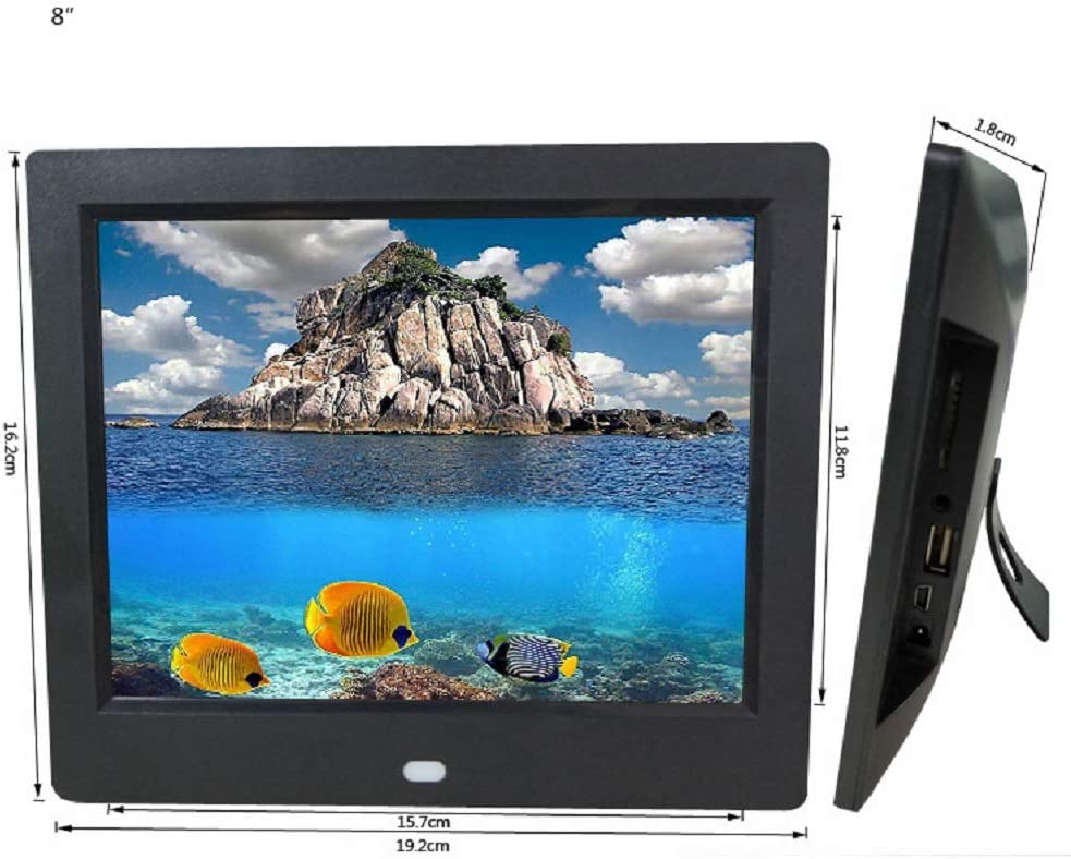 JIANGYE Digital Photo Frame 8 inch Electronic Photo Frame USB SD Card Remote Control Included Wall-Mounted Built-in Speaker,White