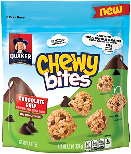 Quaker Chewy Bites, Chocolate Chip, Granola Snacks, 4.5oz, 5 Bags