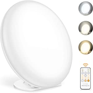 Light Therapy Lamp, 12000 Lux Portable Natural Sunlight Lamp LED Light Box with 3 Color Modes, 5 Brightness Levels, Remote Control, SAD Lamp with 4 Timer Settings, Memory Function, Full UV-Free