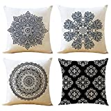"WOMHOPE 4 Pack - 17"" European Classic Style Cotton Linen Square Throw Pillow Case Decorative Cushion Cover Pillowcase Cushion Case for Sofa,Bed,Chair (K (Set of 4))"