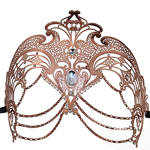 Templates Invitations Costume Halloween Party (Women's Laser Cut Metal Venetian Masquerade Pretty Halloween Costume Mask (Rose)