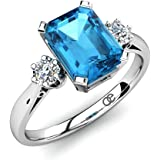 Moncoeur Ring Passion Blue Topaz + Engagement Rings 925 Sterling Silver + Blue Topaz Wedding Bands Silver + Swarovski Wedding Bands For Women + Perfect Fit + Luxury Gift Box