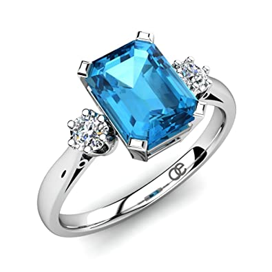 Moncoeur Ring Passion Blue Topaz + Engagement Rings 925 Sterling Silver + Blue  Topaz Wedding Bands
