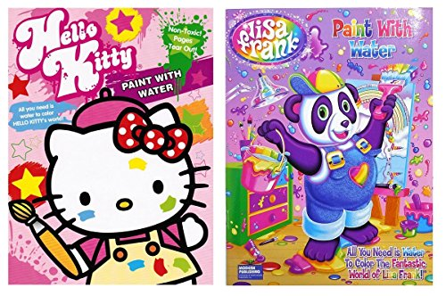 Lisa Frank and Hello Kitty Paint with Water Books, 16 Tear Out Pages (2 Books) (Coloring Book Paint compare prices)