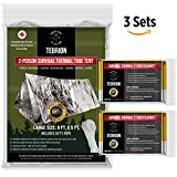 "TEBRION Emergency 2-Adults Mylar Thermal Tent and Large 63"" x 82"" Blankets (2-Pack) Set - Designed for NASA - Perfect for Emergency First Aid Kit, Bug Out Bag, Survival, Hiking, Auto, or Outdoors"