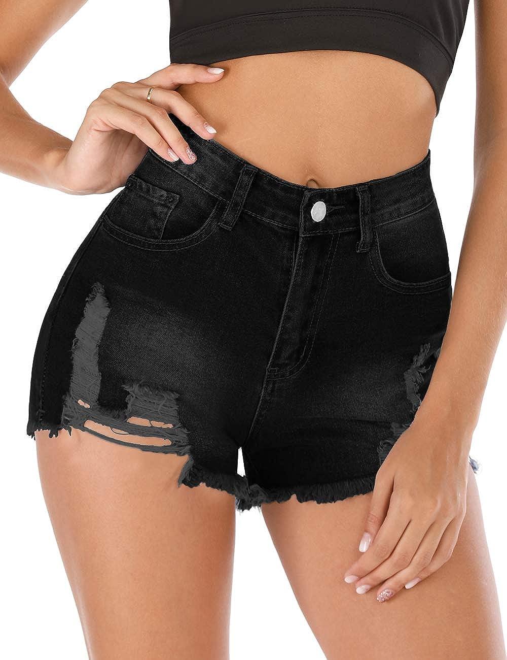 Ulanda Shorts for Women Casual Jean Shorts High Waisted Ruffle Hemming Denim Ripped Short Jeans Pockets