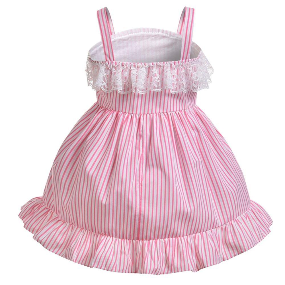 Trajes de fiesta de princesa Vintage Cosplay sin mangas Vestido de rosa a rayas Traje de niña pequeña: Amazon.es: Bebé