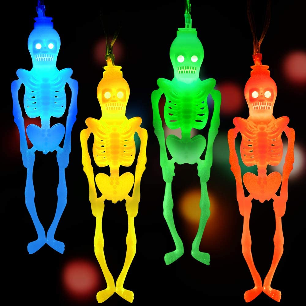 LUDILO String Halloween Lights Decorations Halloween Skeleton Lights Skull Lights Battery Operated 20 LEDS Lights 10.5ft Flashing & Stationary Modes for Halloween Decor Indoor Outdoor Multicolor