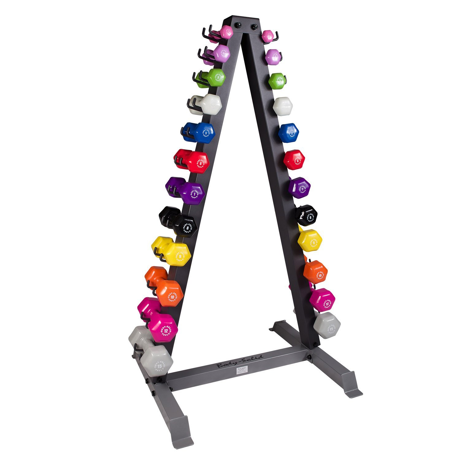 Body Solid Vertical Dumbbell Rack with Vinyl Dumbbells