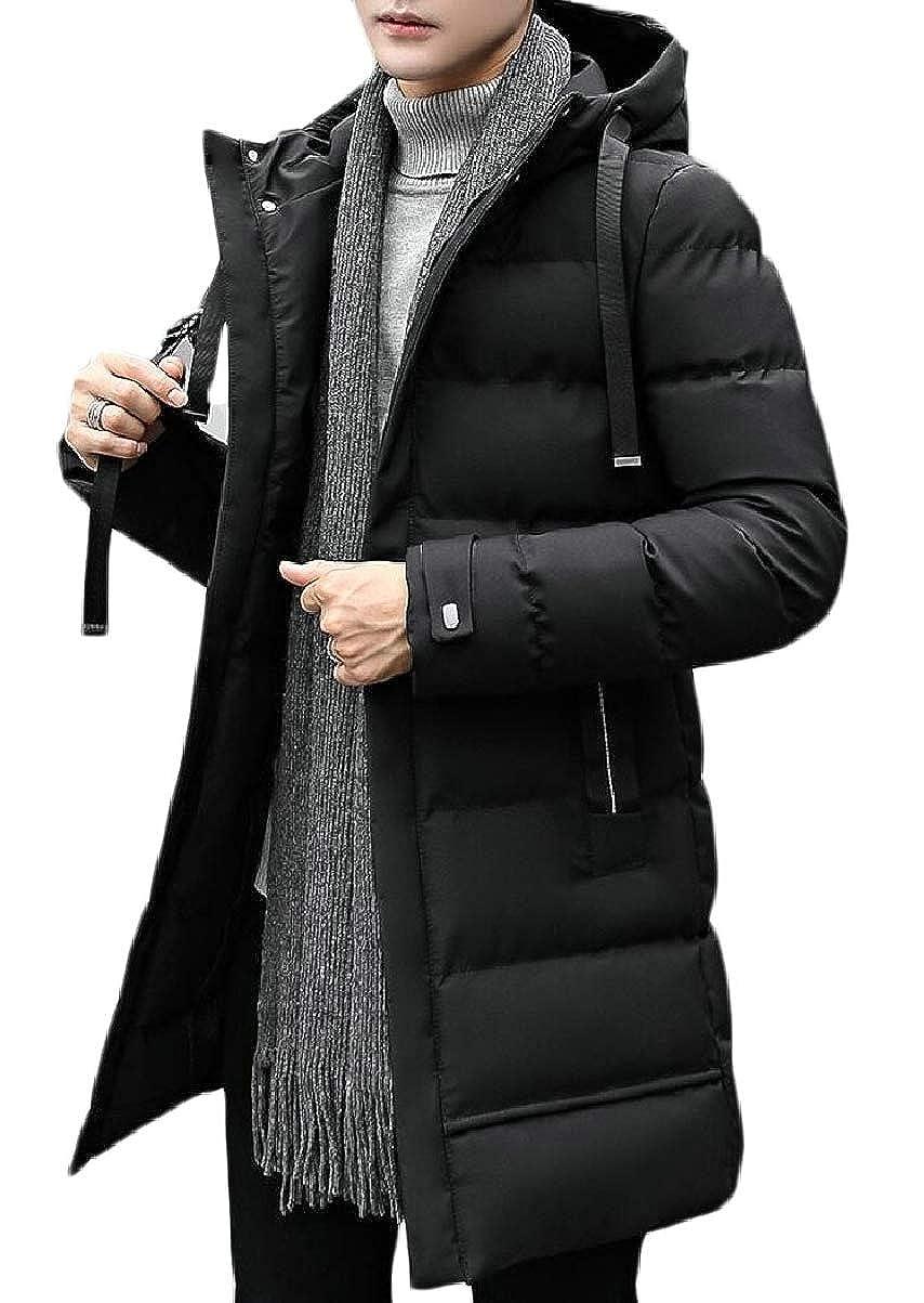 CBTLVSN Mens Mid Long Hoodies Quilted Zipper Thicken Winter Down Jacket Coat
