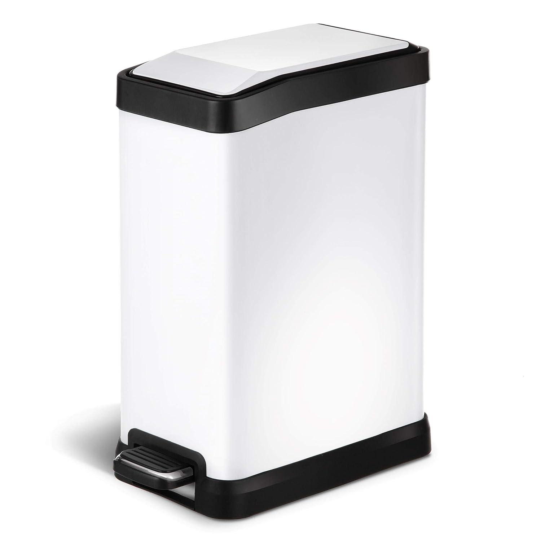HomeZone 8 Liter/ 2.1 Gallon Stainless Steel Rectangular Step Trash Can,  White Finish